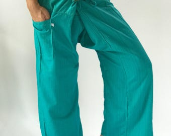 TCP0012 Light Blue Fisherman pant thai yoga pant pants men's Fashion fit for all