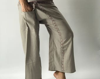 FD00  Hand stitch Inseam design for Thai Fisherman Pants Wide Leg pants, Wrap pants, Unisex pants