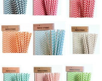 Paper Straws Retro Tableware Birthday Party Wedding - Cubes Design - various colours