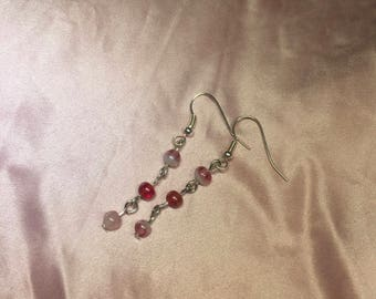 Pink and Red Glass Chain Drop Earrings