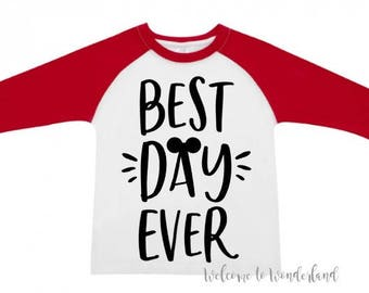 BEST DAY EVER Mickey tee tank top shirt top baby kids boys girls mens ladies adult outfit