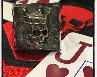 Sterling Silver Poker Ring Skull Jack of Hearts Ring Texas Holdem Skull Ring Poker Skull Ring Prince of Hearts Ring Skull Prince of Hearts