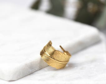 Gold Feather Ring • 24k Gold Plated Ring • Adjustable Ring • Wrap Ring • Wraparound Ring • Boho Ring • Feather Jewellery • Bridesmaid Gift
