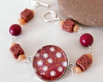Burgundy Bracelet, Floral Bracelet, Autumnal Bracelet, Lava Beads Bracelet, Art Bracelet, Dark Pink Bracelet, Floral Jewellery