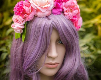 Pink Flower Crown, flower crown, festival, cosplay, headpiece, costume, princess, fairy, queen, Cochella, wedding, burning man, photoshoot