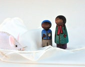 Snowy Day with a Friend - Painted Peg Dolls - Winter Play Set - Snow Play Set