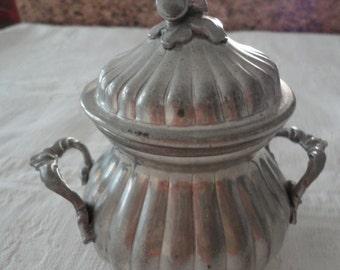 Vintage Sugar Bowl Pewter Acorn Finial Home Decor Kitchen Server Italian Peltro