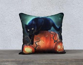 Halloween pillow cover, pillow accent, throw pillow, black cat, fantasy art, Halloween decor, toss pillow, pillow case, cushion cover