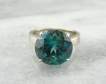Spectacular Icy Blue Zircon Solitaire Ring in Simple White Gold EZVT68-N