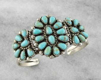 Native American Turquoise Sterling Silver Cuff Bracelet, Petit Point Turquoise Bracelet, Turquoise Cuff Bracelet RM5DH2-P