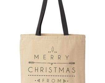 Secret Santa Gift Bag, Large Christmas Gift Bag, Personalized Christmas Bag, Christmas Tote Bags, Secret Santa Bag, Christmas Gift Wrap