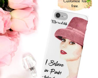 Audrey Hepburn, I Believe in Pink, Watercolor Phone Case, iPhone 6 7 Plus, Samsung Galaxy Case + Edge, Bridesmaid Gifts, Phone Wallet, Mauve