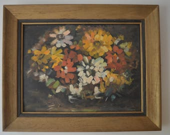 Vintage Mid Century Modern floral thick oil painting wood frame impasto 16 x 20
