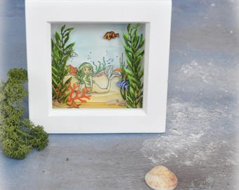 Mermaid Chatter, OOAK Mermaid Themed Fantasy Art, Box Frame Home Decor Small Diorama Framed Scene Unique Gift