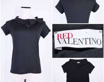 RED VALENTINO Black Short Sleeved Blouse with Bow