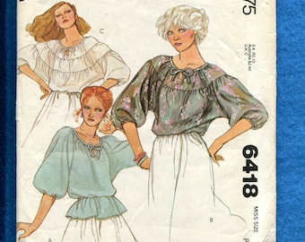 1970's McCalls 6418 Sultry Peasant Style Blouses Size PETITE 6/8 UNCUT