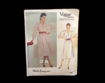 Vintage Vogue Sewing Pattern Uncut No. 1118 Dress Adele Simpson Size 14 16 18