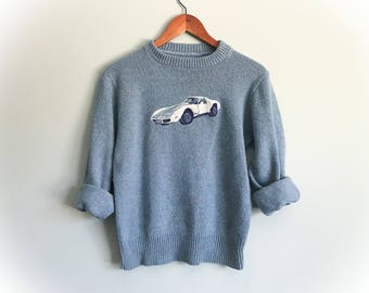 Vintage Novelty Sweater Corvette Embroidered White 1960's Chevy Stingray Blue Pullover Classic Car Chevrolet Shirt Size Small Medium Petite