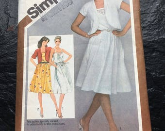 Vintage 1980s Unused Pullover Sundress and Bolero Jacket Pattern // Simplicity 9909, Size 10