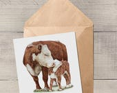 Hereford cow and calf Blank Animal Artist Card