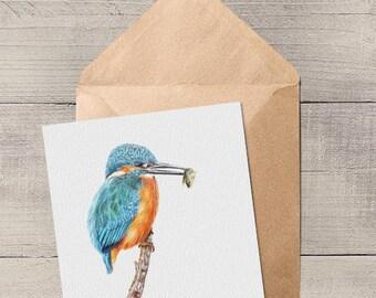 Gone Fishing Kingfisher British Bird Blank Animal Artist Card