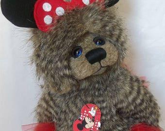 One of a kind, Artist Teddy Bear, Minnie mouse, teddy bear, handmade bear,handmade by carrie