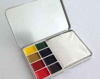 Watercolour box in credit card size (with or without colors available) - Silverbox -.