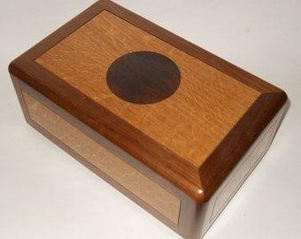 Contemporary Walnut and Oak Cremation Urn