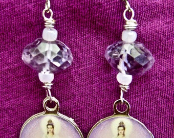 Quan Yin and Amethyst crystal earrings, Goddess of Compassion earrings, Amethyst crystal Quan Yin handmade earrings