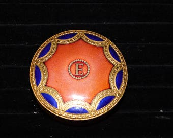 Eve of Roma Gold Tone Pressed Powder Compact~Enameled~