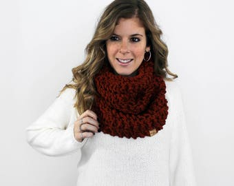 Knitted Scarf Chunky Cowl Spice- Calvert Cowl