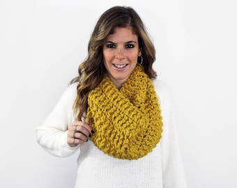 Knitted Scarf Cowl Chunky Citron - Anacostia Cowl