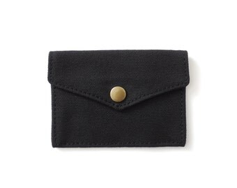 Canvas Snap Wallet Minimalist Card Wallet Black