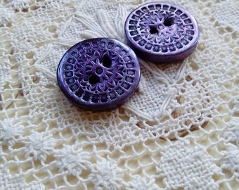 Purple silver polymer clay buttons, small round buttons, handmade buttons, unique buttons, ornate buttons, scrapbooking, crafts, knitting