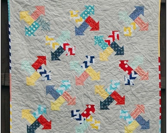 Arrows All Around - digital quilt pattern- baby, lap, and twin sizes - pre-cut and scrap friendly