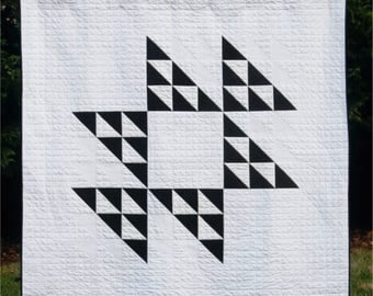 Yesterday - digital quilt pattern - fat eighth/fat quarter quilt pattern - a modern pattern - baby, lap, and queen sizes