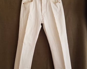 501 Levi's White Painters Jeans Button Fly 1990s American Made USA 34x30