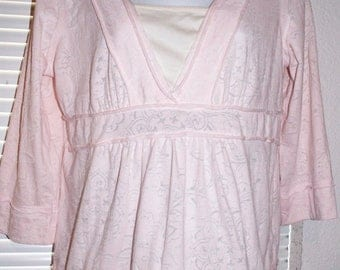 Soft Pink Blouse Sz S / M CARIBBEAN JOE Knit Top Lace Trim