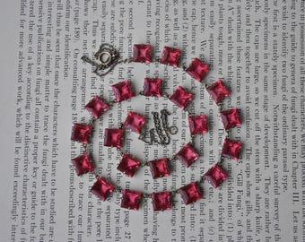 Antique Sterling Emerald Cut Pink Glass Necklace - 1920s Art Deco Sterling Open Back Bezel Set Faceted Glass Necklace