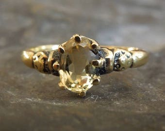 Victorian Style Oval Citrine Ring - Vermeil (Gold & Sterling Silver)