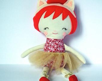 Cloth Doll. Handmade rag doll. Cat ear headband. Red and gold. Great Christmas Gift idea