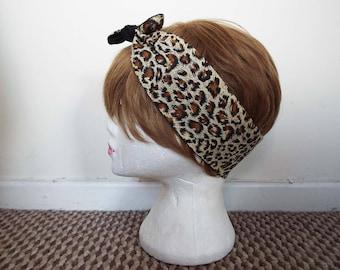 Leopard Print 50s Vintage Rockabilly Hair Scarf