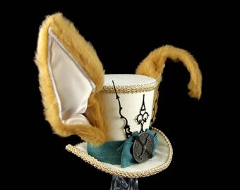 March Hare –Beige and Blue Clockwork Bunny Eared Large Mini Top Hat, Alice in Wonderland Mad Hatter Tea Party