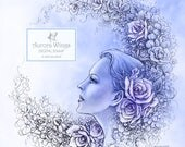 Digital Stamp - Aurora Wings Fantasy Art Line Image - Flower Moon - Instant Download for Arts and Crafts - Detailed Adult Coloring Page