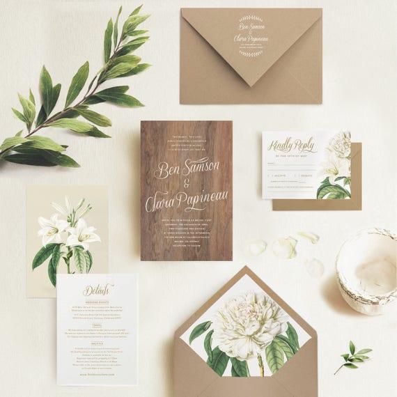 Wedding Invitation Envelopes Canada: Wood Wedding Invitation White Flowers Floral Envelope Liner