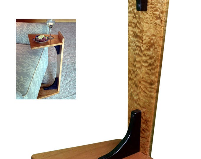 Perching Table - Quilted Maple & Cherry with hand carved horse inlayed with Turquoise