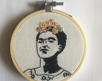 Frida Kahlo Hand Embroidery Hoop Art 3""