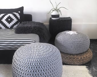 Grey Crochet Pouf Ottoman-Floor Pouf-Nursery Foot Stool-Crochet Round Pouf-Floor Pillow-Floor Cushion-Knit Pouffe-Nursery Decor-Bean Bags