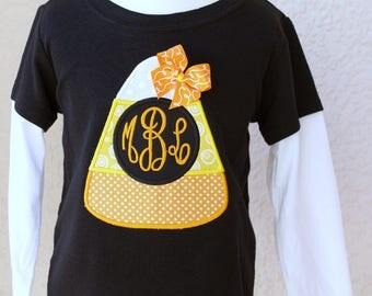 Halloween Shirt - Candy Corn Monogram