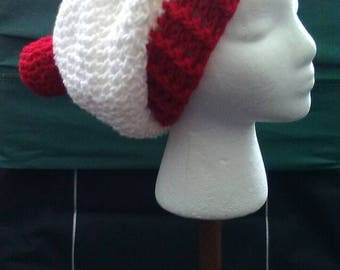 Red and White Crochet Slouchy Beanie, Where's Waldo Hat, Christmas Crochet Hat, Red and White Hat, Crochet Hats,  Ready to Ship, B82-17-0628